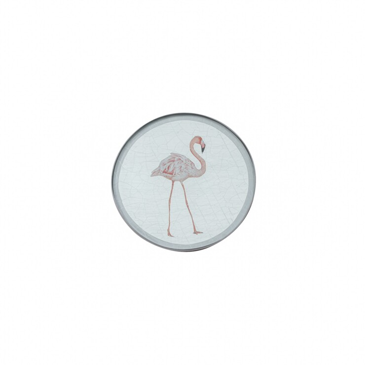 Round Coaster, Flamingo on silver leaf