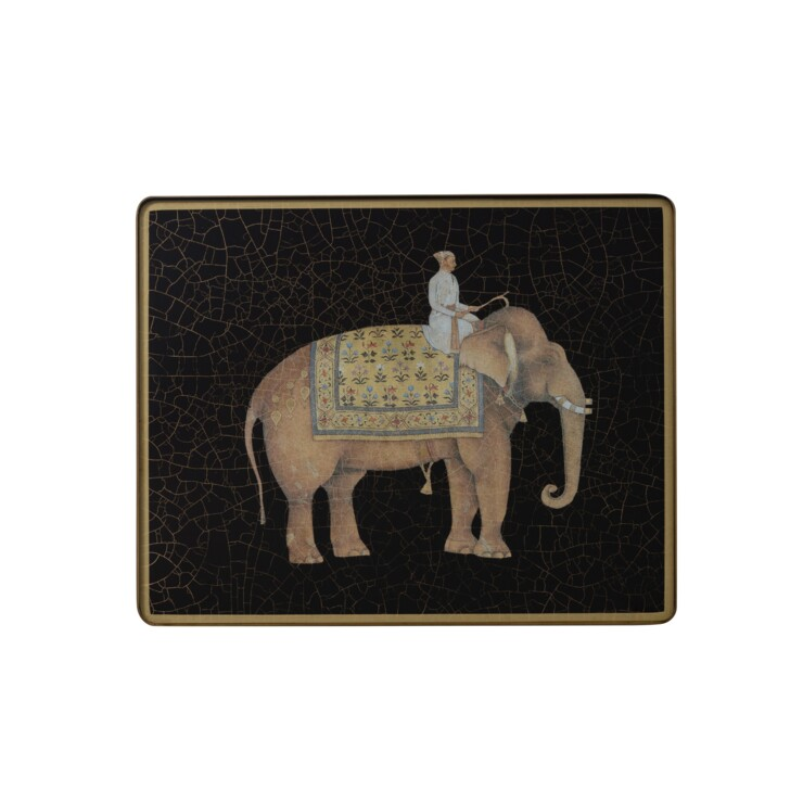Small Tablemat, Indian Elephants on black