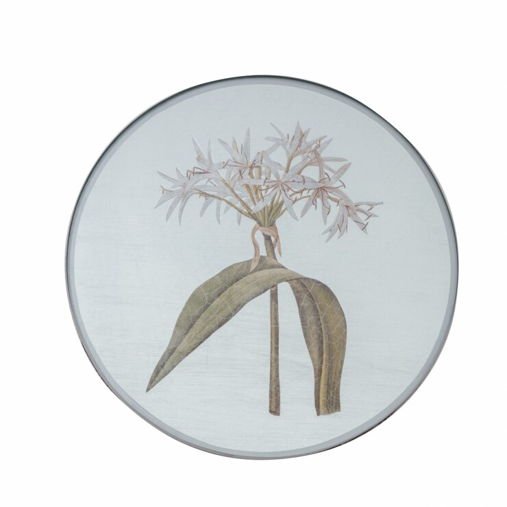 Round Tablemat, Lily on silver leaf