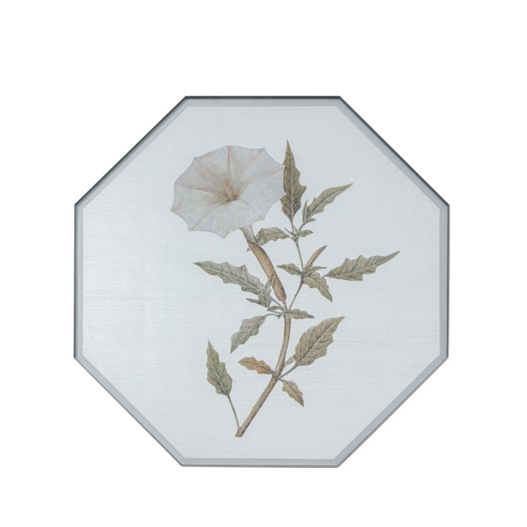 Small Octagonal Tablemats, Summer Flowers on silver leaf