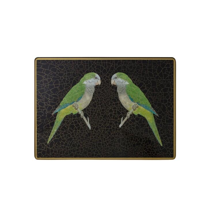 Large Rectangular Tablemat, Parrots on black