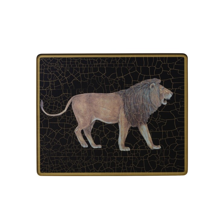 Small Tablemat, Lion on black