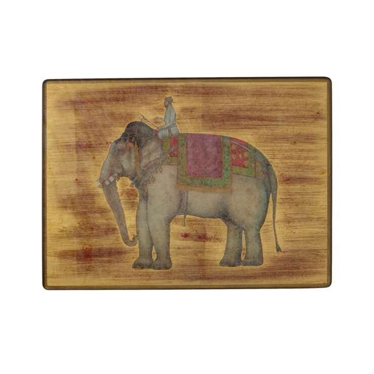 Small Tablemats, Indian Elephants on distressed gold leaf