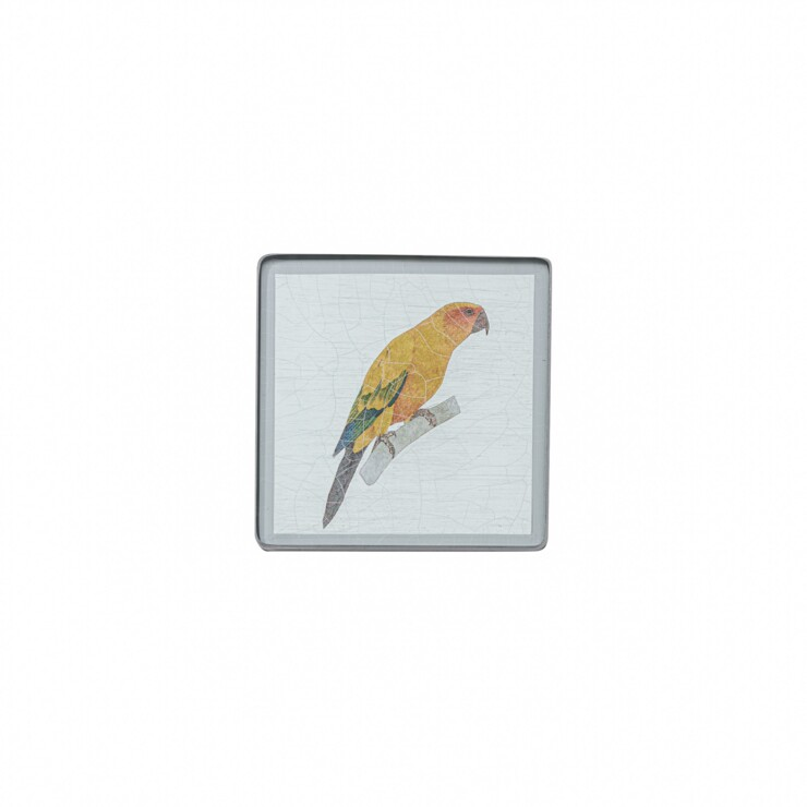 Square coaster, Parrot on silver leaf