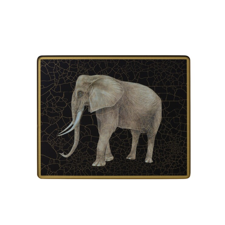 Small Tablemat, Elephant on black