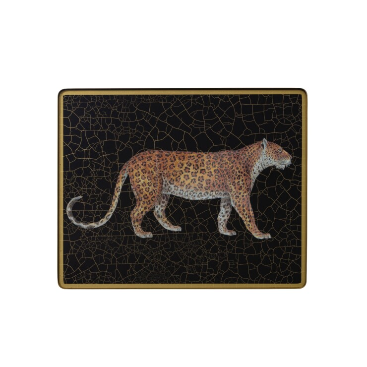 Small Tablemat, Leopard on black