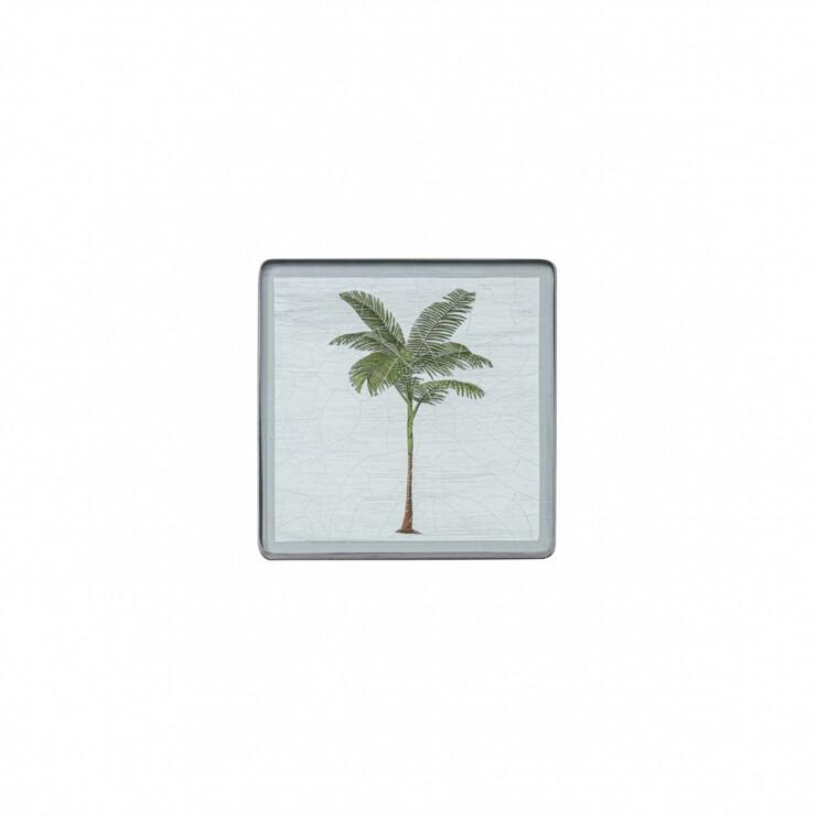 Square coaster, Palm Tree on silver leaf