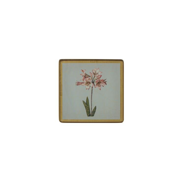 Square Coasters, Summer Flowers on Celedon