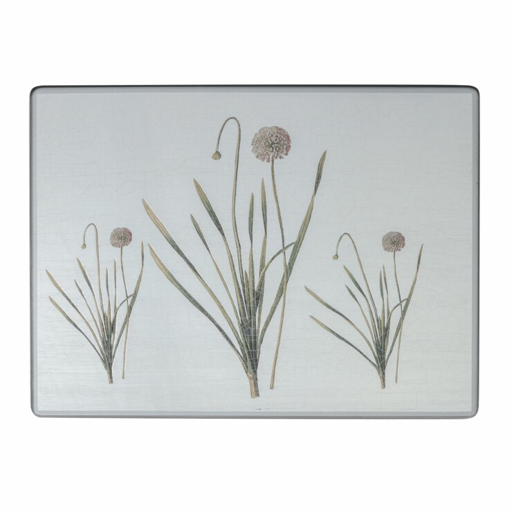 Large Rectangular Tablemats, Allium on silver leaf