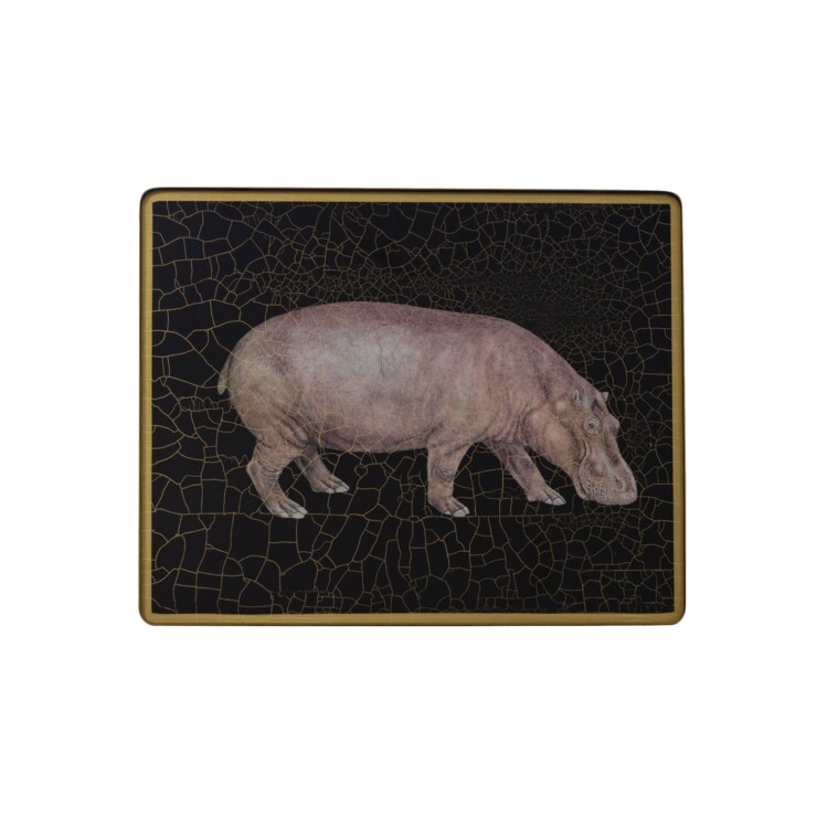 Small Tablemat, Hippo on black
