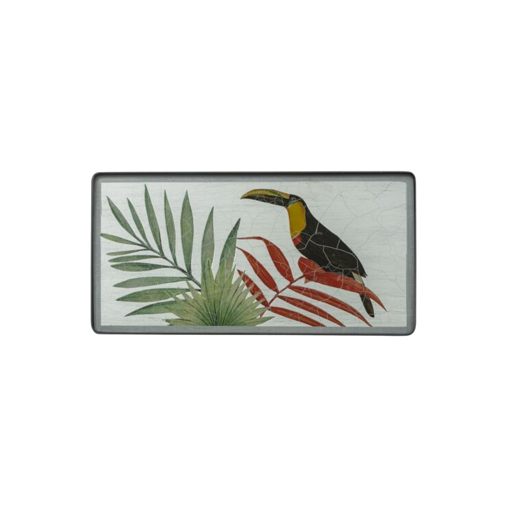 Rectangular Coaster, Jungle with Toucan on silver leaf