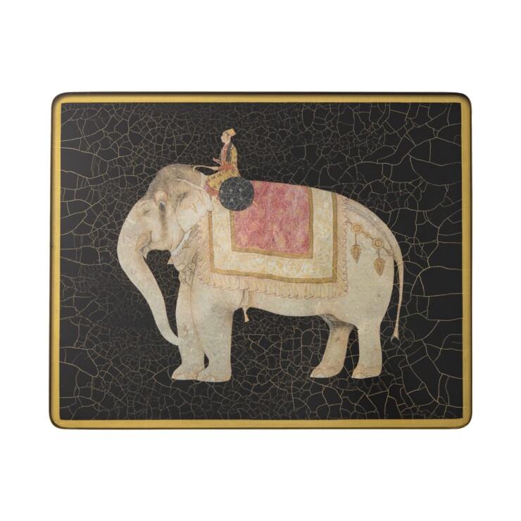 Small Rectangular Tablemat, Indian Elephant on black