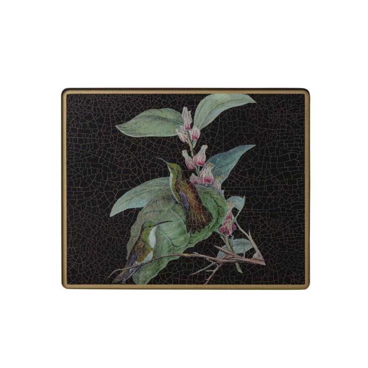 Small Tablemat, Hummingbirds on black