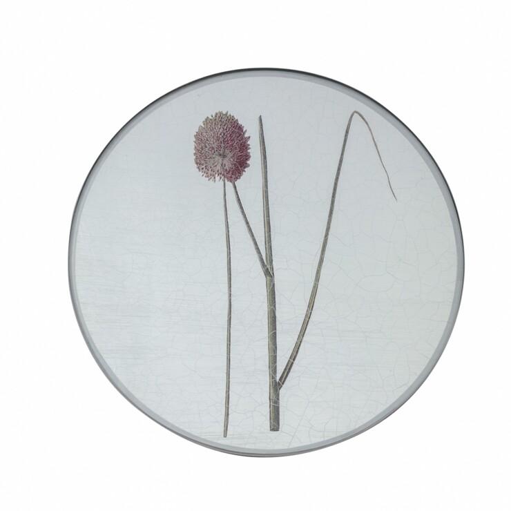 Round Tablemats, Allium on silver leaf