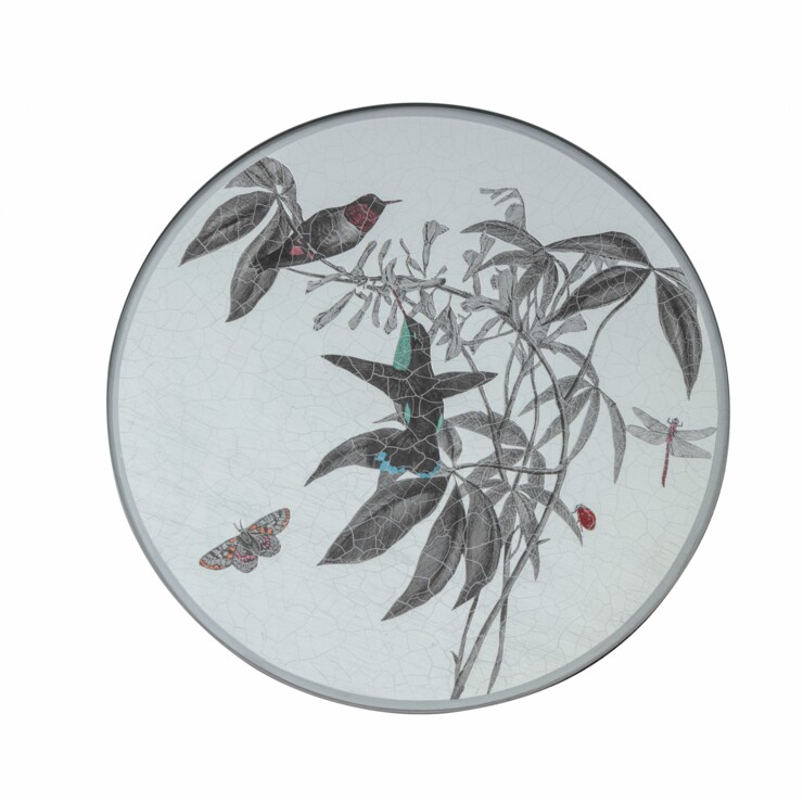 Round Tablemat, Black and White Hummingbirds on silver leaf