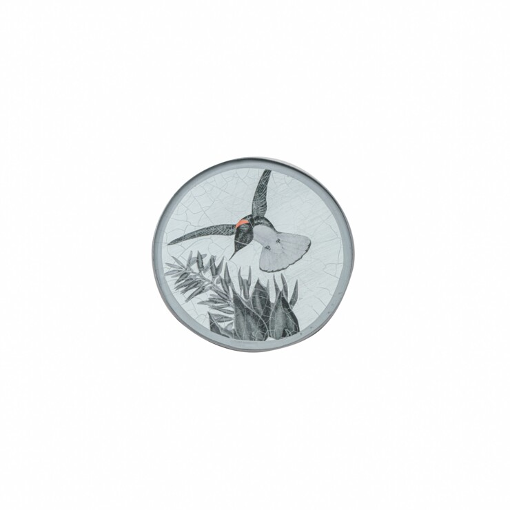 Round Coaster, Black & White hummingbird on silver leaf