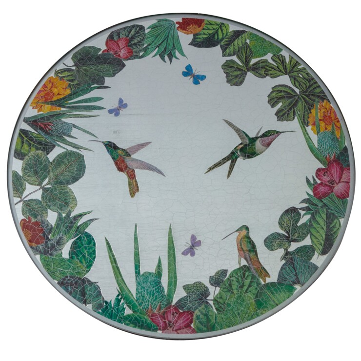 Centre Piece, Jungle with Hummingbirds on silver leaf
