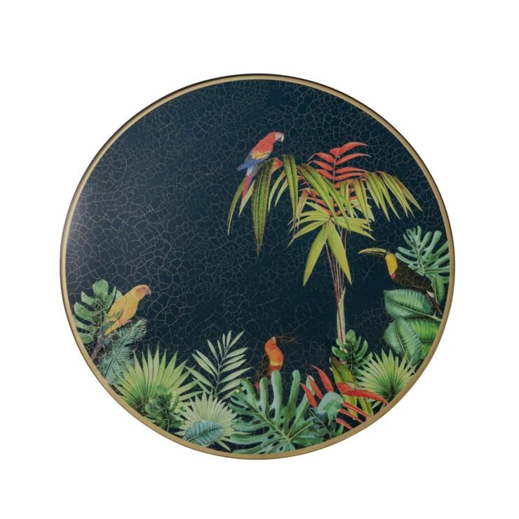 Centre Piece, Jungle with Parrots on azure blue