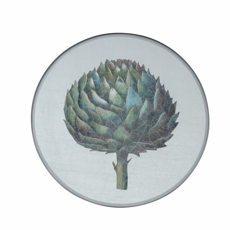 Round Tablemats, Artichoke on silver leaf