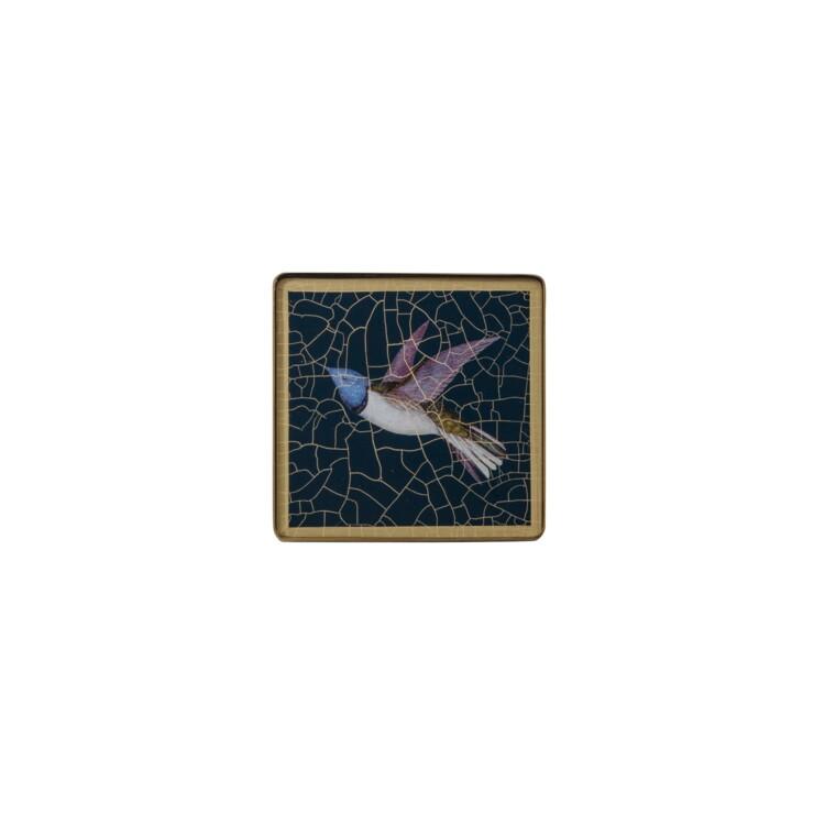 Square coaster, Hummingbird on azure blue