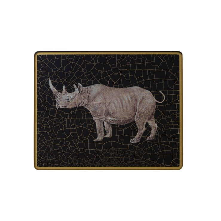 Small Tablemat, Rhino on black