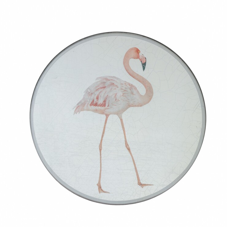 Round Tablemat, Flamingo on silver leaf