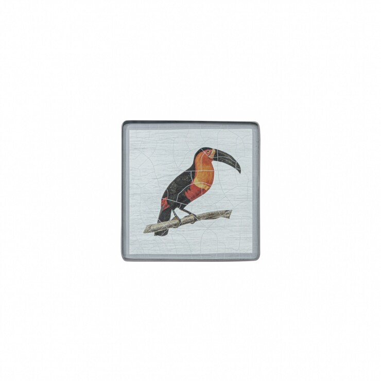 Square Coaster Toucan on silver leaf