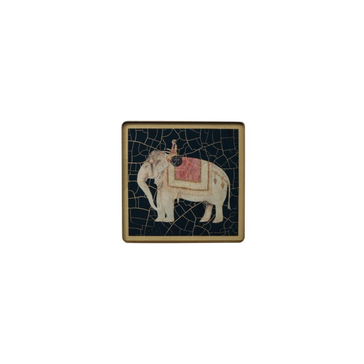 Square coaster, Indian Elephant on black